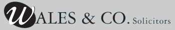 Wales & Co's Logo. Stylised logo in writing with solictiors word appended